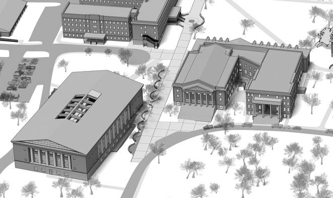 Campus Map - Close Up - Library Black and White